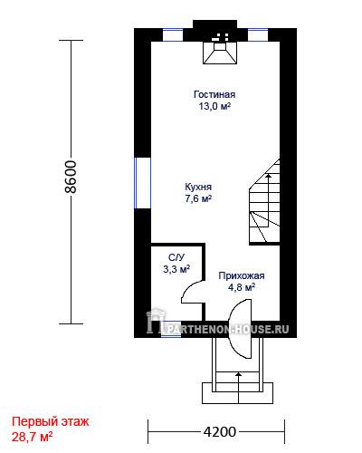 проект небольшого узкого дома для родителей: