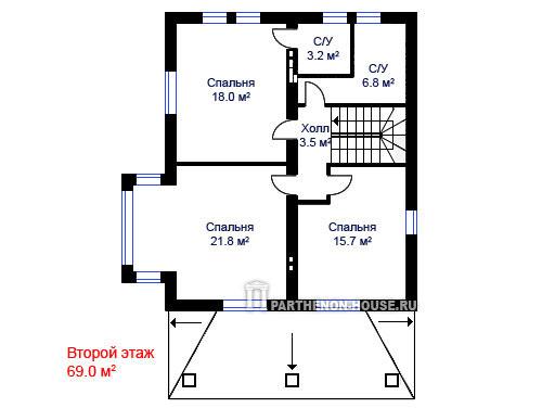 Проект двухэтажного загородного дома в технологии строительства из газобетонных блоков